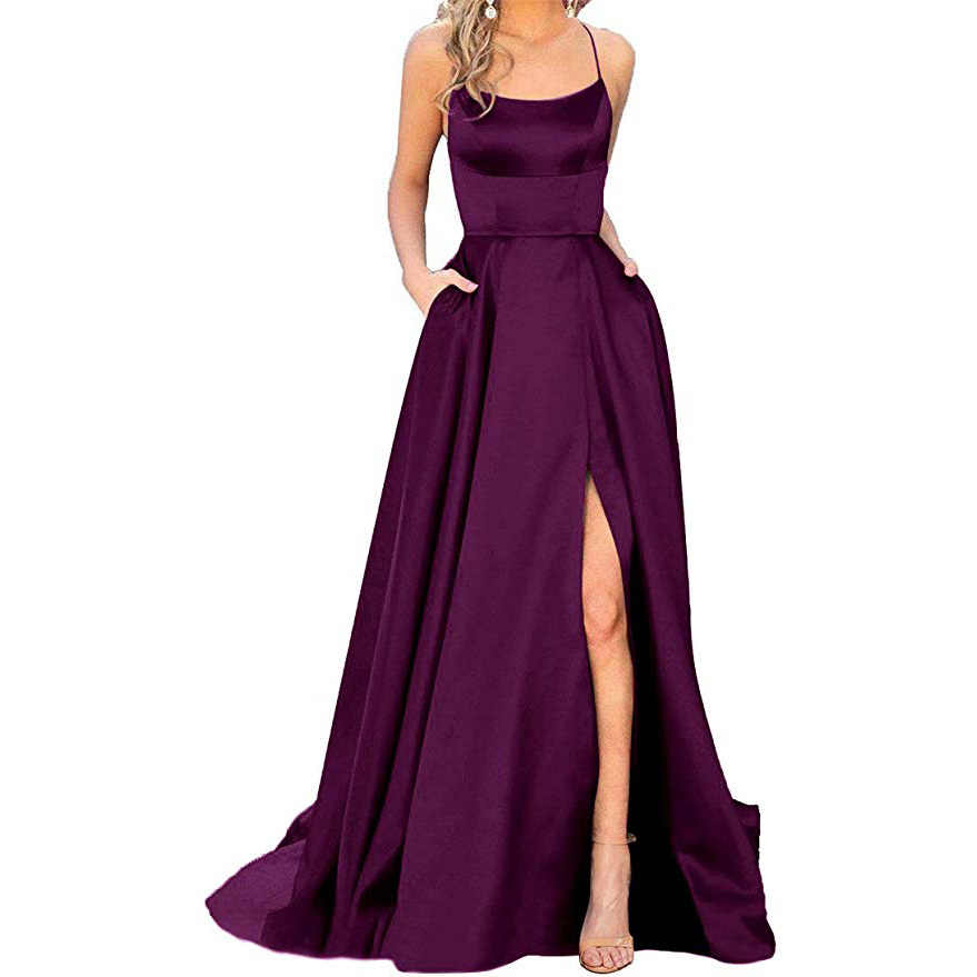 AE757 2020 블랙 블루 긴 댄스 파티 드레스 간단한 라인 저렴한 댄스 파티 드레스 높은 슬릿 스파게티 스트랩 크로스 다시 이브닝 드레스