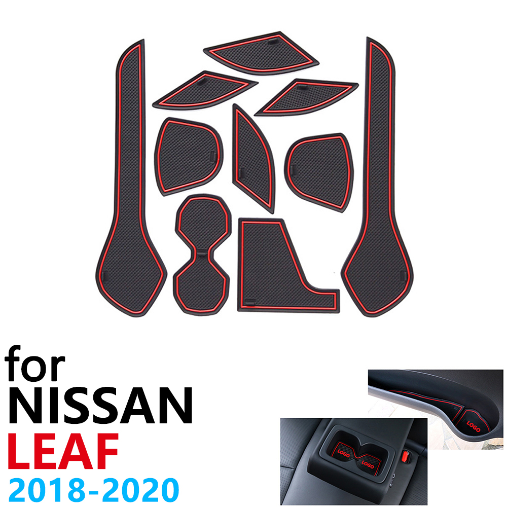 Противоскользящий резиновый коврик для чашки, дверной паз, коврик для Nissan Leaf ZE1 2018 2019 2020 10 шт., аксессуары, автомобильные наклейки, коврик для ...