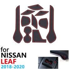 Anti-deslizamento de borracha copo almofada porta groove esteira para nissan leaf ze1 2018 2019 2020 10 pçs acessórios adesivos carro esteira para o telefone