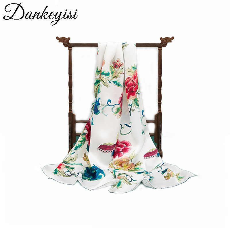 Dankeyisi 100% 桑ロングスカーフ女性のシルクスカーフ高級ブランドのスカーフショールシルクスカーフロングプリントショールビーチカバー-ups