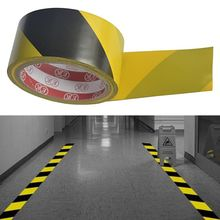 High Strength Adhesive Sticker Black Yellow Safety Warning Floor Tape for Social Distancing 4.5cm x 16m