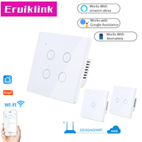 UK/EU Standard Smart Wifi Touch Switch 1 2 3 4 Gang 1 Way Crystal Tempered Glass Tuya APP Control Wall Light Switch Switches     -