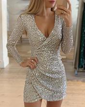 цена на 2019 Women Fashion Elegant Mini V-Neck Dress Female Sexy Party Dress Surplice Wrap Ruched Sequins Bodycon Dress
