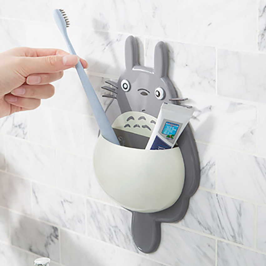 Wall Mount Cute Totoro Toothbrush Holder Storage Rack With 3 Suction Cup Cartoon Organizer Sucker Home Bathroom Accessories