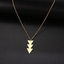 Collier Long avec pendentif géométrique en acier inoxydable pour Femme, bijou ras du cou