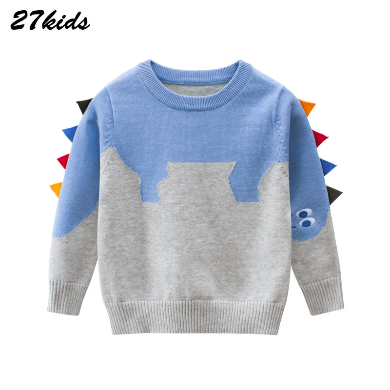 27kids Dinosaur Pattern Boys Knitted Sweater For Toddler Boy Kids Casual Spring Cartoon Warm Cotton Boys Sweaters Pullovers