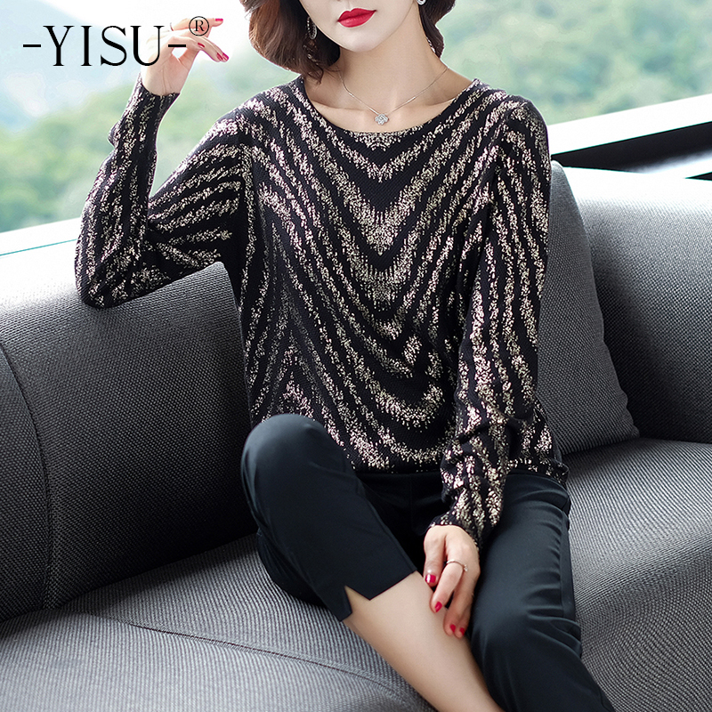 YISU Women Striped print sweater 2019 Autumn Winter New Knitted Pullover Long Sleeve O-neck Casual jumper Loose Sweater Women 27