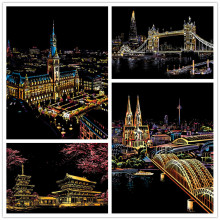 DIY Magic Scratch Painting London Bridge Tokyo Florance Japan Cherry Home Decor Picture Art Crafts Europe Place Interest Gifts