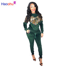 HAOOHU Dicke Samt Pailletten 2 Stück Set Frauen Trainingsanzug Hoodies Tops und Hose Casual Outfits Anzüge Herbst Winter Velours Sweatsuit(China)