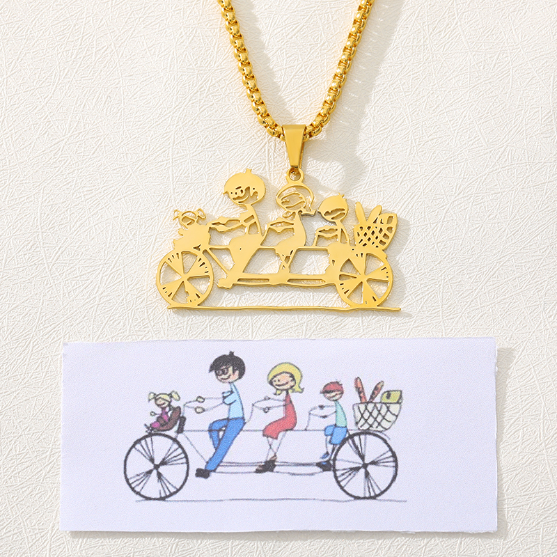 Children's Drawing Necklace Personalized Gold Stainless Steel Kid's Art Necklace Necklace Child Artwork Gift For Mom And Grandma