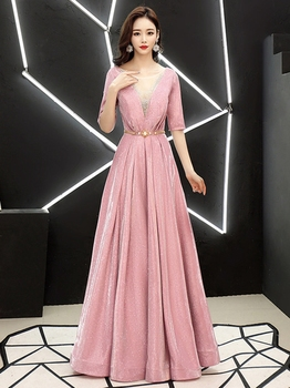 Starry evening dress long evening dress female new ladies noble elegant party banquet annual meeting host was thin dress skirt