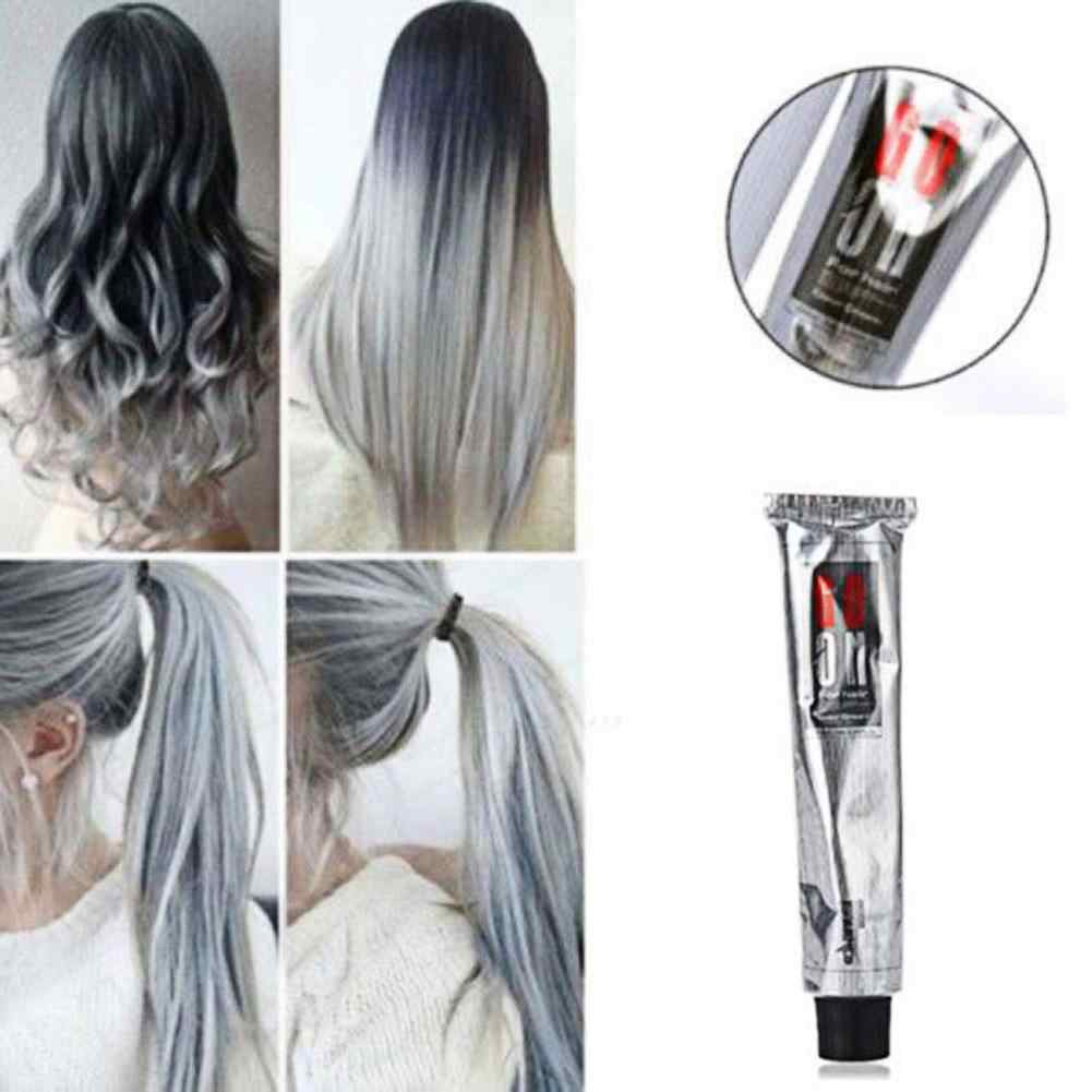 100ml Fashion Hair Cream Unisex Smoky Gray Punk Style Light Grey Silver Permanent Hair Dye Color Cream Girls Beauty Hair Colors