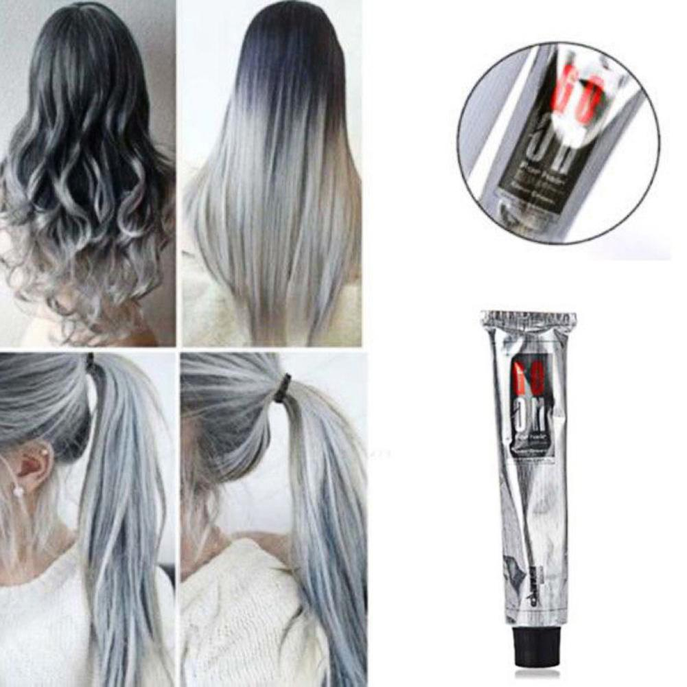100ml Fashion Hair Cream Unisex Smoky Gray Punk Style Light Grey Silver Permanent Hair Dye Color Cream Girls Beauty Hair Colors image