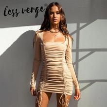 Lessverge women sexy mini dress long sleeve solid color adjustable