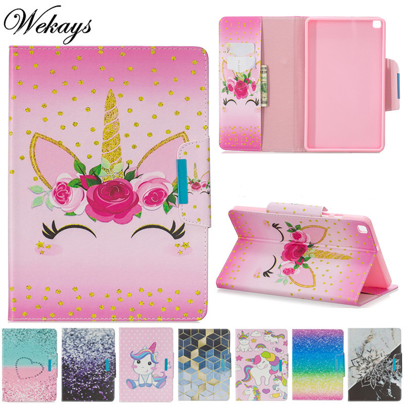Wekays Coque For Samsung Galaxy Tab A 8 2019 Cartoon Unicorn Leather Fundas Case For Samsung Tab A 8.0 T290 T295 T297 Cover Case