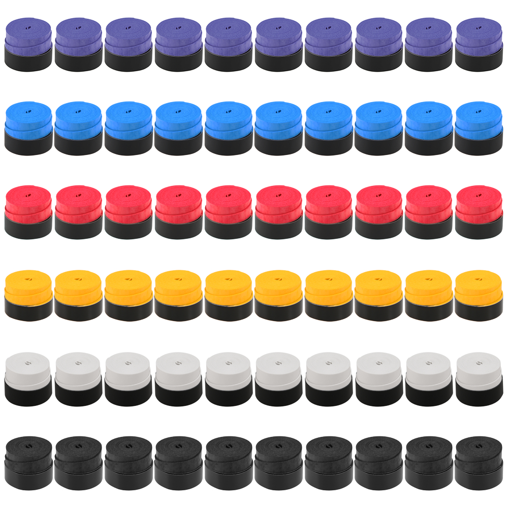 Pack Of 60 Tennis Racket Grips Anti-skid Badminton Racquet Grips Vibration Overgrip Sweatband Outdoor Sports Polyurethane