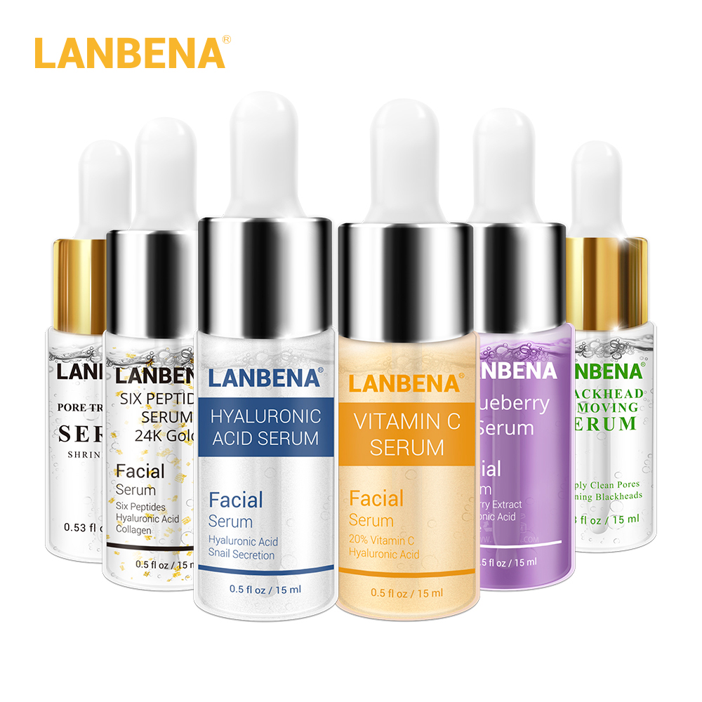 LANBENA 6PCS Hyaluronic Acid Serum+ Vitamin C Serum+ 24K Gold Serum+Blueberry Serum+Pore Treatment Serum+Blackhead Remove Serum
