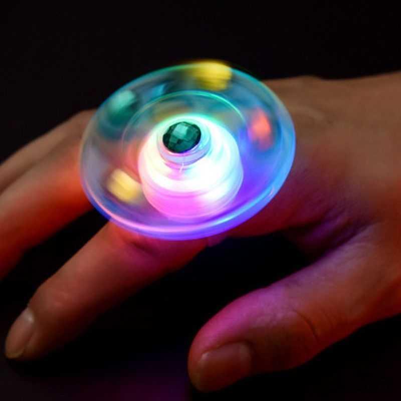 1 PC ใหม่ Luminous แหวนขนาดเล็กของเล่นเด็ก Finger Tipto ปลายนิ้ว Gyro SPIRAL เปิดแหวนเด็กสายรัดข้อมือวันหยุดของขวัญรางวัล