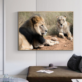 Wild Lion Couple Picture Printed on Canvas 1