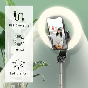 Image 2 - multi functional portable  folding selfie stick ring light tripod remote control