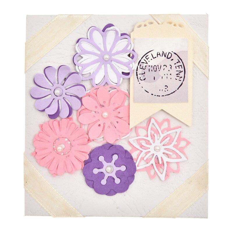 Happy Flower Cutting Dies Metal Stencil DIY Scrapbooking Album Paper Card Art 3D