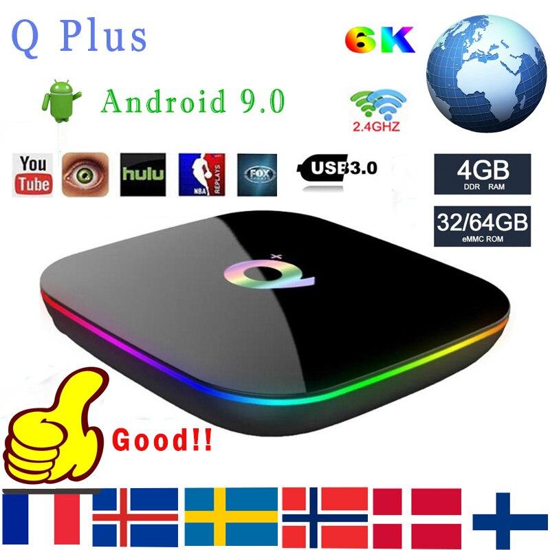 Q Plus Smart TV Box Android 9.0 TV Box 4GB Ram 64GB 32GB Rom 6K H.265 USB3.0 WIFI Support Netflix Google Qplus Box Media Player