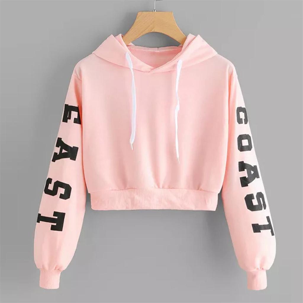 Korean Letters Printed Hoodie Crop Top Long Sleeve Hooded Sweatshirt Women Autumn Harajuku Top And Blouse Teen Girls Sudaderas