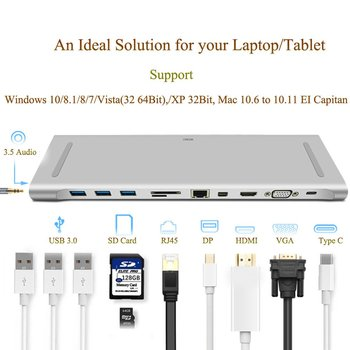 11-In-1 Usb Type-C Hub For Macbook With Ethernet High-Speed Transmission 4K Hd Mini Pd Multi-Function Type-C Hub