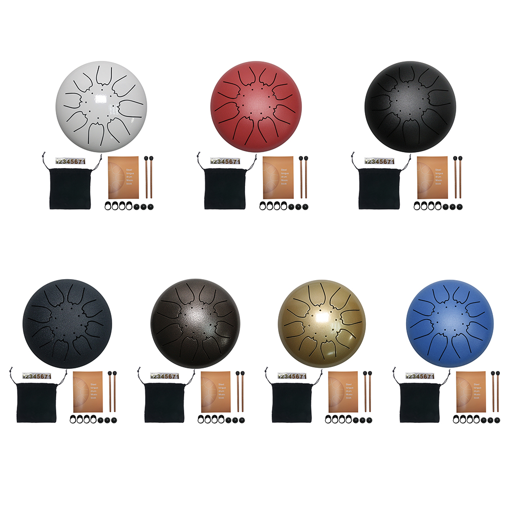 Steel Tongue Drum 6 inch 8 Tune Hand Pan Drum Set Tank Hank Drum with Drumstick Pad Carrying Bag Percussion Instrument Accessori