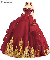 Red Ball Gown Princess Quinceanera Dresses 2020 Off Shoulder Lace up Back Gold Appliques Long Sweet 16 Prom Party Dresses