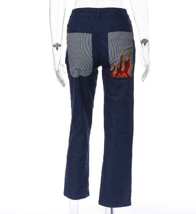 Fashion Street Print Flame Pocket Casual Jeans Women