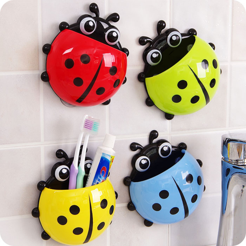 Novelty Ladybug Toothbrush Holder Toiletries Toothpaste Holder With Suction Cup Bathroom Accessories image
