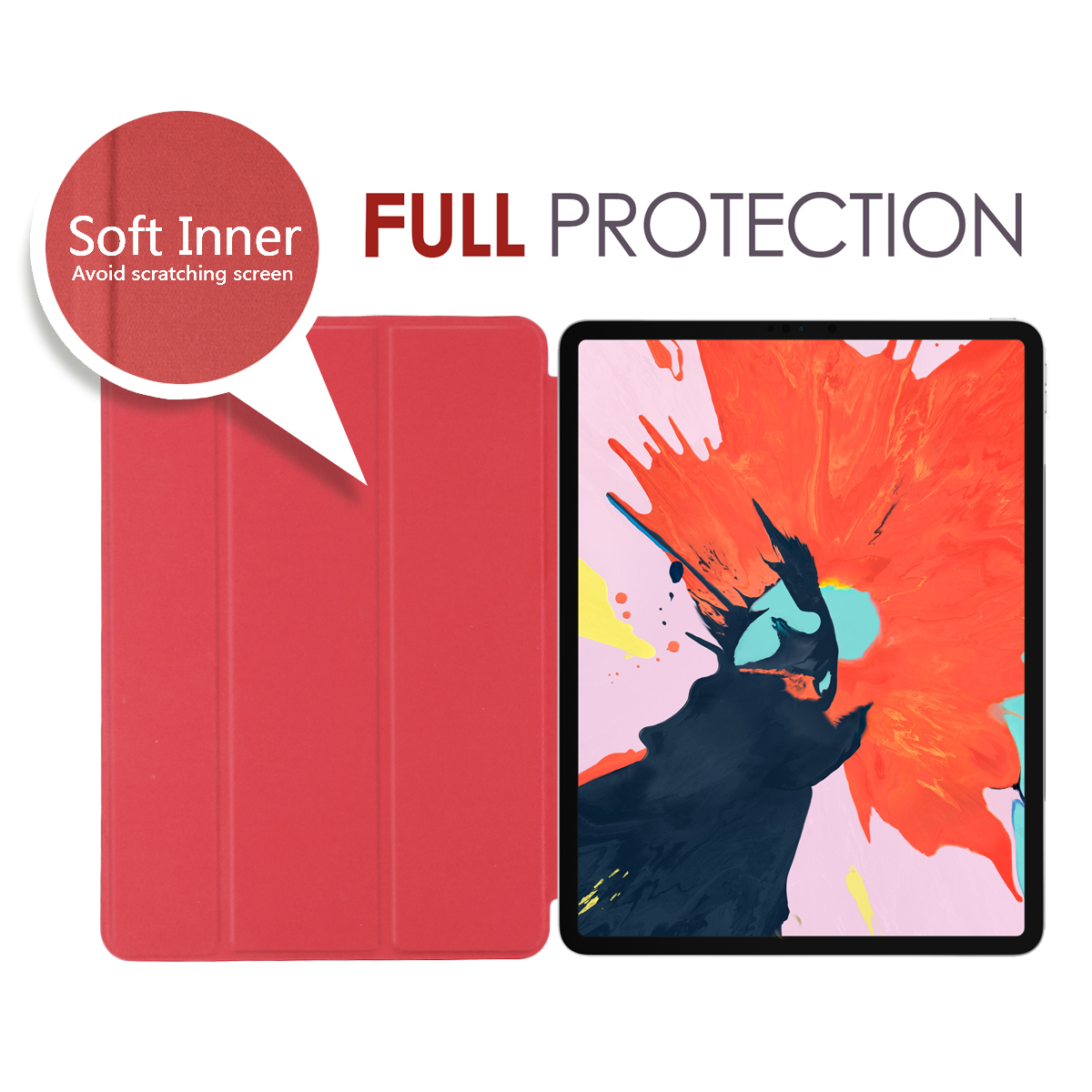 Pure Color Smart Case for iPad Pro 3rd Gen 12 9 2018 Slim Tri fold Stand Cover with Auto Wake Sleep A1876 A1895 A1983 A2014 in Tablets e Books Case from Computer Office