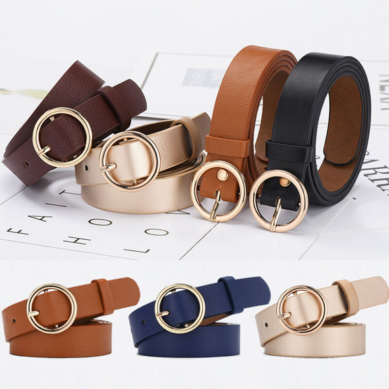 Unisex Belt Vintage Metal Boho Classic Fashion Womens Men Solid Genuine PU Leather Solid Color Waistband Wide Belt Strap Belts