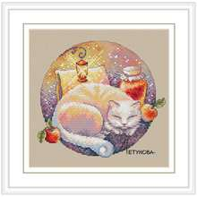 Sleeping cat patterns counted cross stitch 11ct 14ct diy chinese