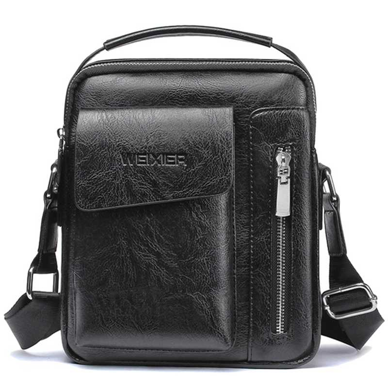 Weixier Vintage Messenger Bag Men Shoulder Bags Pu Leather Crossbody Bags For Men Bags Retro Zipper Man Handbags(Black)