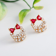 Creative inlaid rhinestone bow earrings female temperament personality earrings simple fashion 925 silver needle ear jewelry silver jewelry inlaid natural blue earrings shine all match earrings fashion temperament section mixed batch