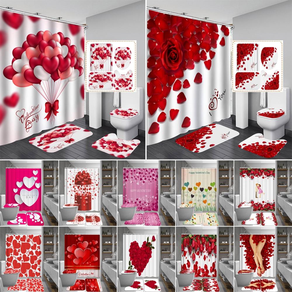 Glücklich Valentines Tag Dusche Vorhänge Bad Vorhang Rose Blütenblatt Liebe Bad Sets Wc Abdeckung Matte Non-Slip Waschraum Teppich set