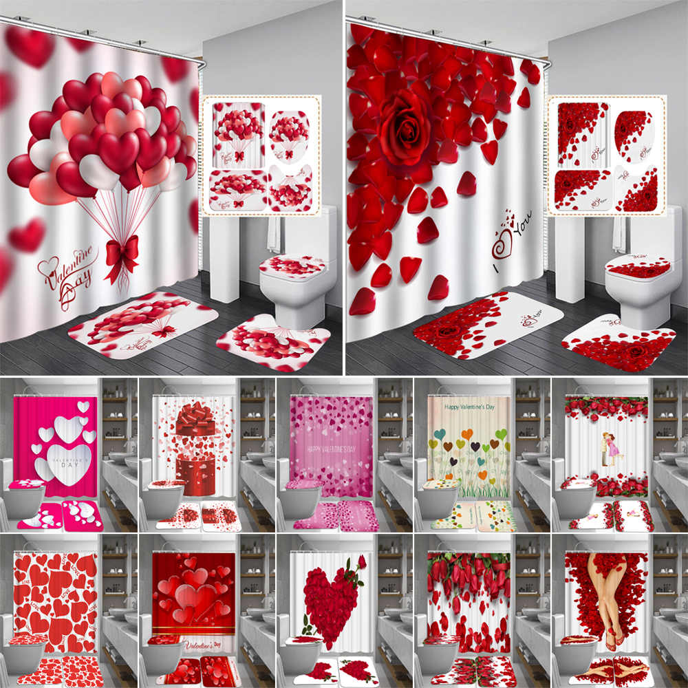 Happy Valentines Day ผ้าม่านห้องน้ำผ้าม่าน Rose Petal Love Bath ชุดห้องน้ำลื่น Washroom พรมชุด