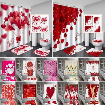 Happy Valentines Day zasłony prysznicowe kurtyna łazienkowa płatek róży miłość zestawy do kąpieli toaleta pokrywa mata antypoślizgowa toaleta zestaw dywaników tanie i dobre opinie Radosne Poliester 12 27aBY Nowoczesne Ekologiczne Polyester Fiber 45 x 75 cm 17 7 x 29 5 180 x 180 cm 70 8 x 70 8 bathroom toilet room shower room etc