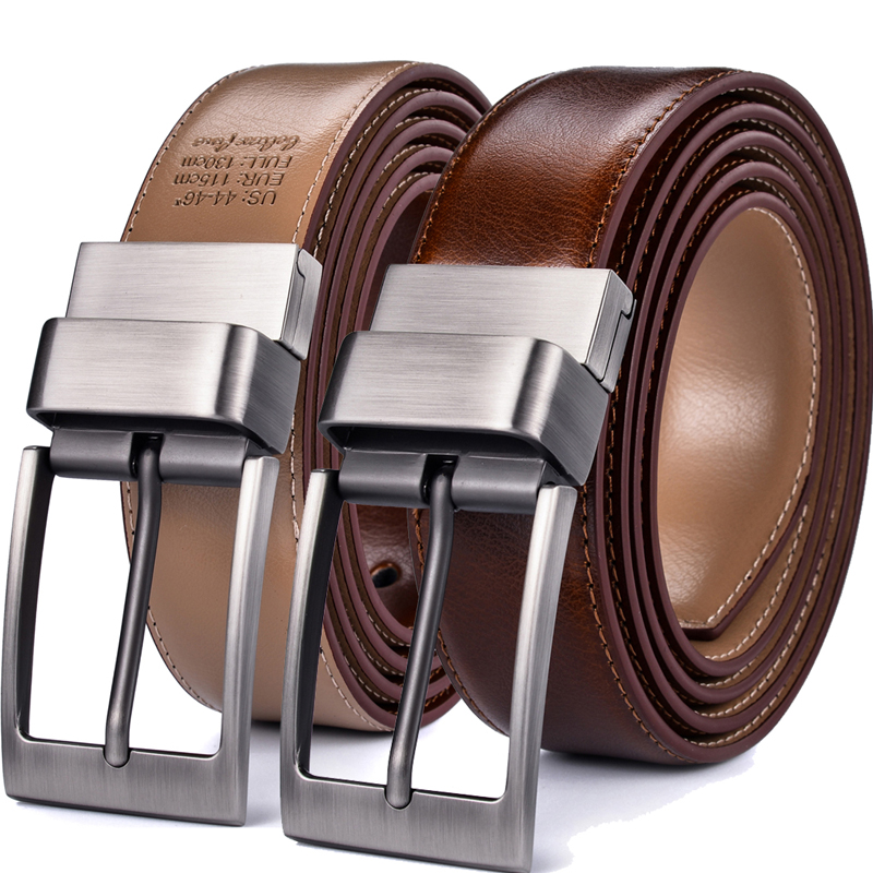 Genuine Leather Men's Belt, Reversible Dress Casual Golf Belt With Rotated Buckle, One Reverse For 2 Colors - 1Pcs