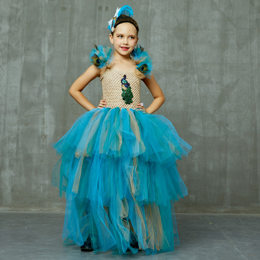 LIMITED EDITION Luxury Girls Peacock Tutu Dress with Matching Headband Multi-layer Kids Pageant Tulle Ball Gowns Peacock Costume (14)