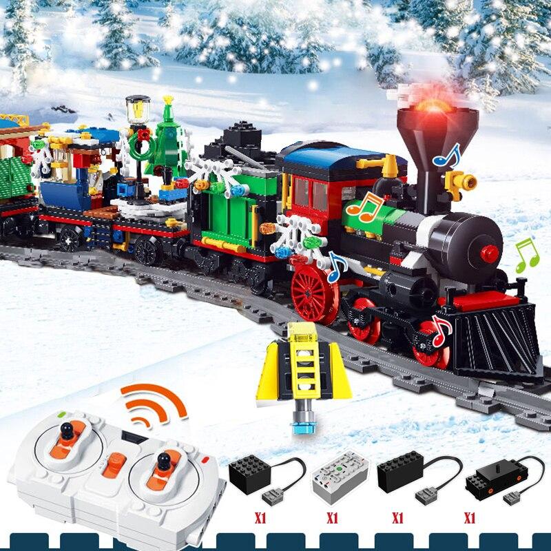 826 шт. рождественской деревни город поезд дерево, Мини фигурки, строительные блоки legoINGlys рождественские вагонный состав кирпичи игрушки под...