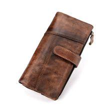 Men's Leather Wallet Bifold ID Card Holder Long Clutch Billfold Money Purse Vintage Style New men wallet leather credit card photo holder billfold purse business clutch dec07