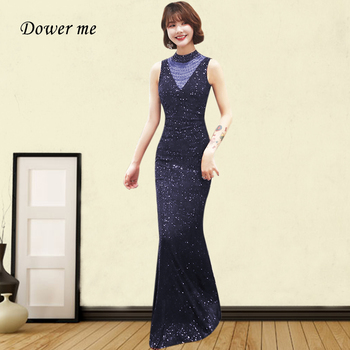 Black Sequin Evening Dress GK070 Shiny Beading Formal Party Dresses 2020 High Collar Sleeveless Vestidos De Fiesta For Women