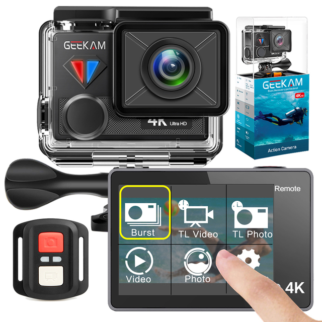 GEEKAM عمل كاميرا T1 شاشة تعمل باللمس الترا HD 4 K/30fps 20MP واي فاي تحت الماء مقاوم للماء دراجة خوذة المتطرفة الرياضة كاميرا فيديو
