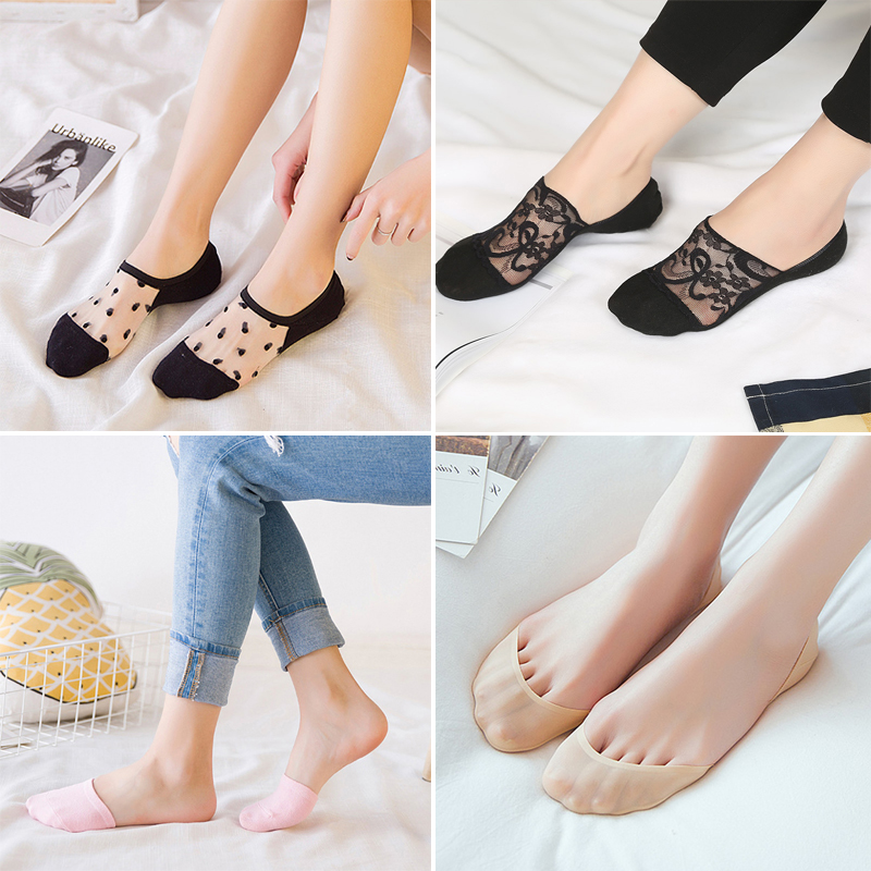 5Pairs/lot Fashion Boat Socks For Women Thin Sweat-absorbent Invisible Socks Girls Summer Non-slip Shallow Mouth Boat Socks