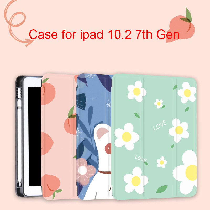 Pencil Holder Case For IPad 10.2 2019 A2200 Smart Cover Funda Magnetic Tri Folding Stand Shell Case For IPad 7 7th Generation
