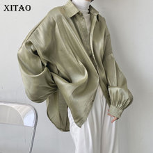 XITAO Solid Color Women Casual Shirt Simplicity Loose 2021 Summer New Turn-down Collar Fashion Vintage All-match Top ZY6375