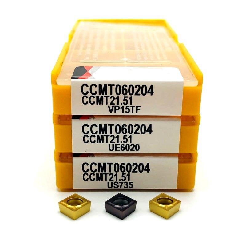 Набор токарных пластин, комплект из 10 твердосплавных втулок CCMT060204 VP15TF, CCMT060204 UE6020, для фрезерных станков с ЧПУ, CCMT 060204